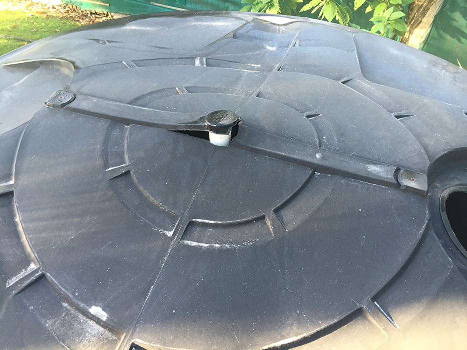 Damged poly tank roof